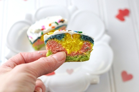 Rainbow Heart Cupcakes Recipe for Valentine\'s Day | Savor The Thyme