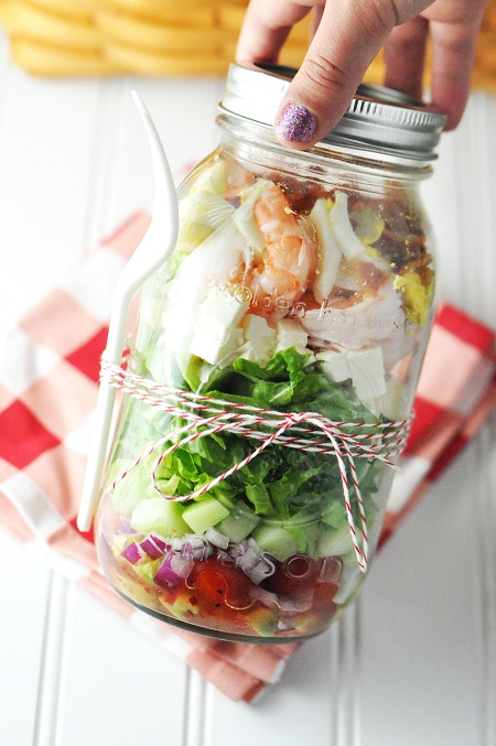 picnic food prawn shrimp feta cobb salad